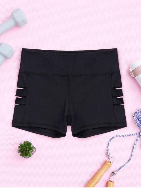 affordable Cut Out Yoga Shorts - BLACK L Mobile