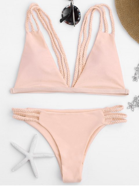 Bikini avec Lanières Tressées à Coupe Basse - Rose  S Mobile
