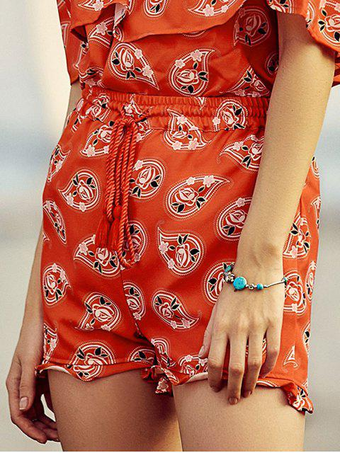 hot Full Floral Print Drawstring Shorts - RED L Mobile