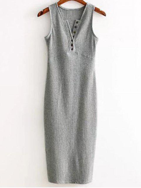 sale Side Slit Ribbed Dress - LIGHT GRAY ONE SIZE Mobile