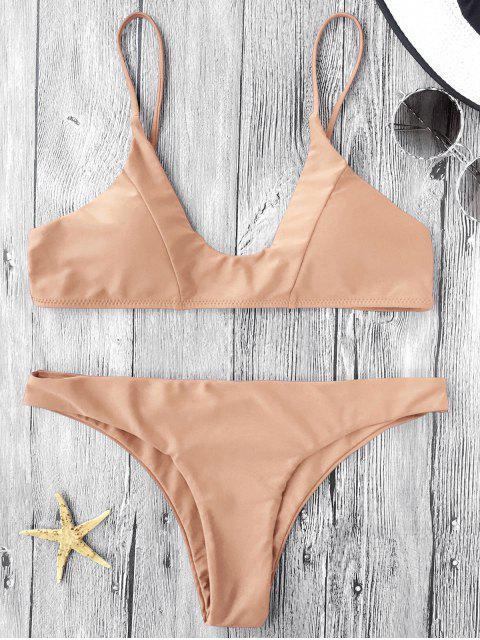 outfit Cami Padded Bikini Set - LIGHT KHAKI S Mobile