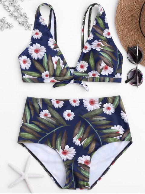 sale Daisy Print High Waisted Bikini Set - FLORAL S Mobile