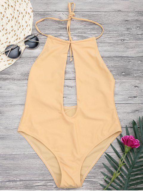 ladies Halterneck Keyhole Plunge One Piece Swimsuit - YELLOW S Mobile