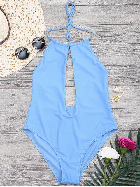 lady Halterneck Keyhole Plunge One Piece Swimsuit - BLUE L Mobile