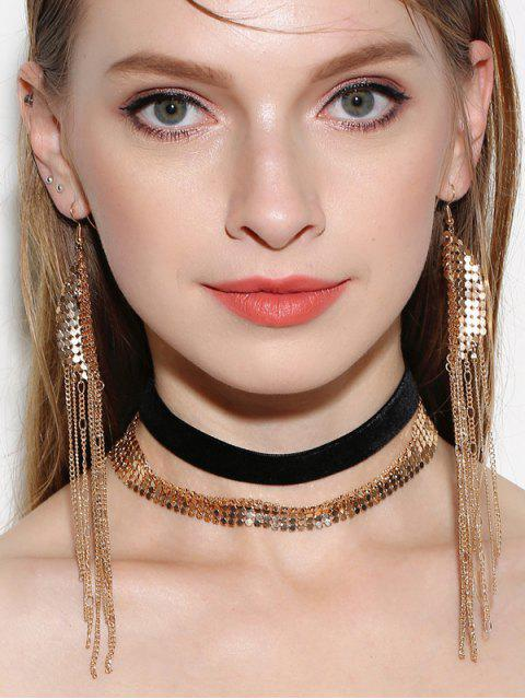 latest Disc Choker Necklaces with Fringed Earrings - GOLDEN  Mobile