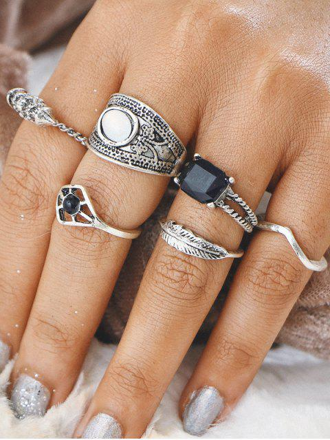chic Alloy Feather Gypsy Finger Ring Set - SILVER  Mobile