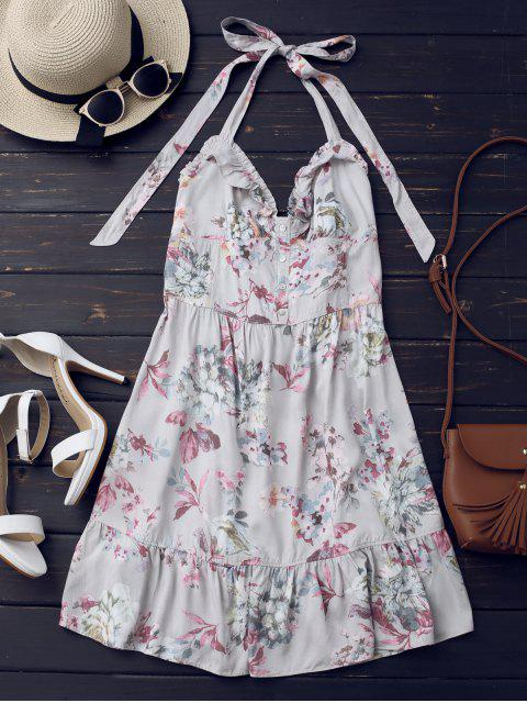 women Half Buttoned Ruffles Floral Mini Dress - FLORAL L Mobile