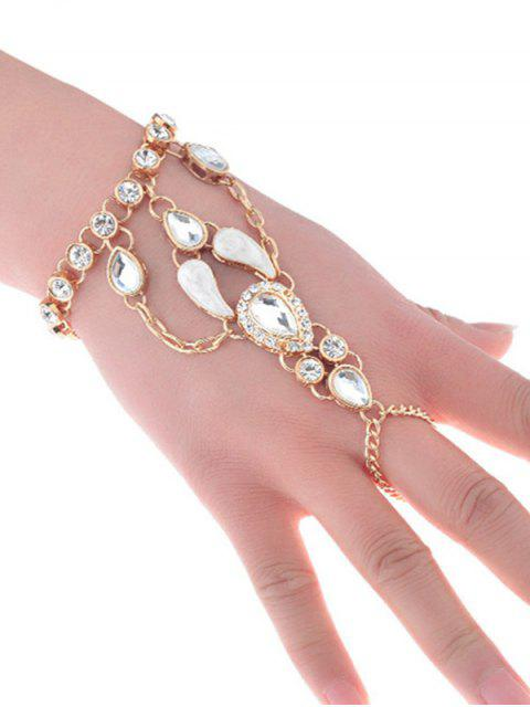 Rhinestoned Teardrop Charm Slave Bracelet - Or  Mobile
