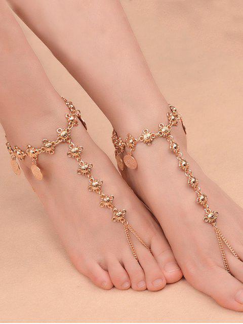 shops 1PC Coins Fringed Charm Vintage Slave Anklet - GOLDEN  Mobile