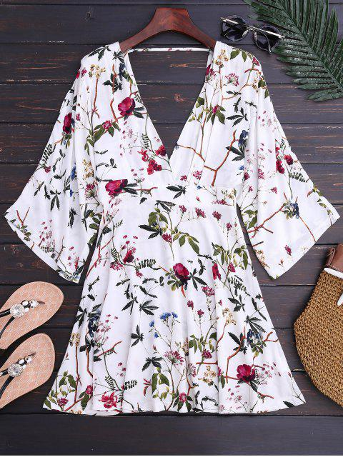 fancy Kimono Sleeve Floral A-Line Dress - FLORAL L Mobile