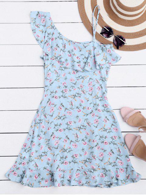 hot Floral Ruffles One Shoulder Mini Dress - FLORAL S Mobile