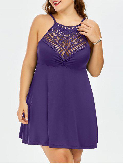 latest Plus Size Lace Trim Empire Waist Slip Dress - DEEP PURPLE 5XL Mobile