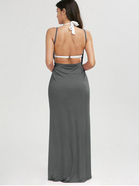 ladies Beach Maxi Wrap Slip Dress - GRAY S Mobile