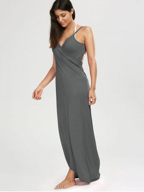 lady Beach Maxi Wrap Slip Dress - GRAY M Mobile