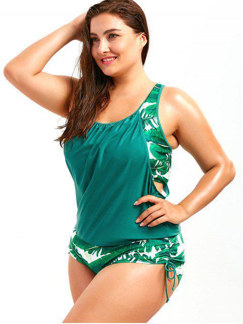 Maillot de bain faux deux pièces grande taille imprimé palmier feuille - Lac Vert XL Mobile