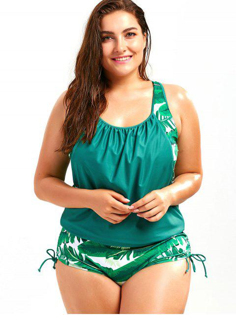 Maillot de bain faux deux pièces grande taille imprimé palmier feuille - Lac Vert 5XL Mobile