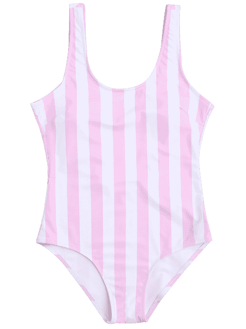 shop Striped Shaping Padded One Piece Swimsuit - PINK AND WHITE M Mobile