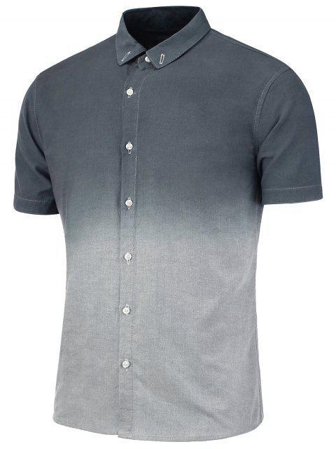 Camisa Degradada de Dip Dye con Mangas Cortas con Botones - Gris 3XL Mobile