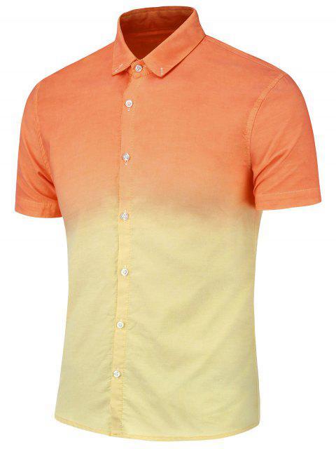 Camisa Degradada de Dip Dye con Mangas Cortas con Botones - Naranja Amarillo 4XL Mobile