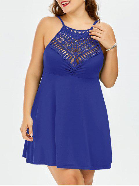 best Plus Size Lace Trim Empire Waist Slip Dress - ROYAL 3XL Mobile