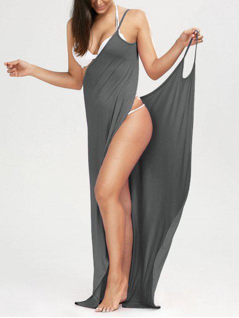 Maxi Vestido Encubierto de Playa con Tirantes Finos - Gris L Mobile