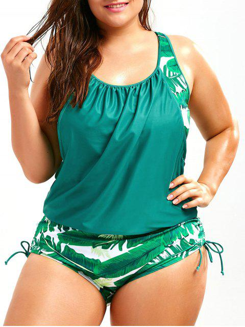 hot Plus Size Faux Twinset Palm Leaf Swimwear - LAKE GREEN 4XL Mobile