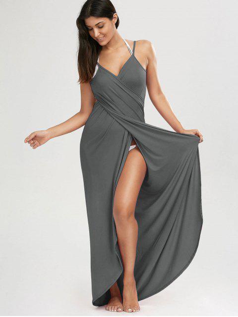 Robe de Plage Cache-Maillot Longue à Fente - Gris L Mobile