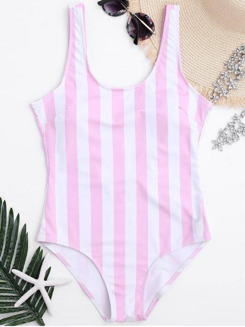 Traje de Baño de Una Pieza Relleno de Rayas - Rosa y Blanco M Mobile