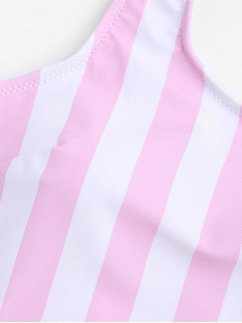Traje de Baño de Una Pieza Relleno de Rayas - Rosa y Blanco S Mobile