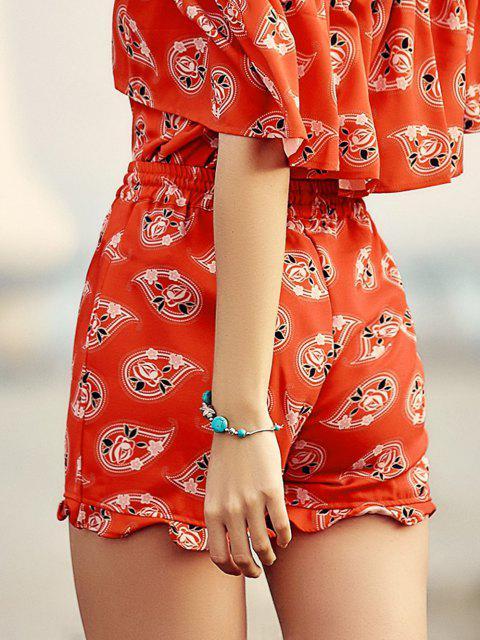 online Full Floral Print Drawstring Shorts - RED S Mobile