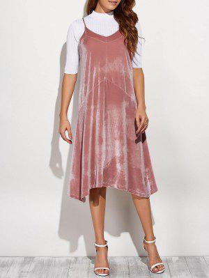 Vestido Midi Suelto Camí Terciopelo - Rosa
