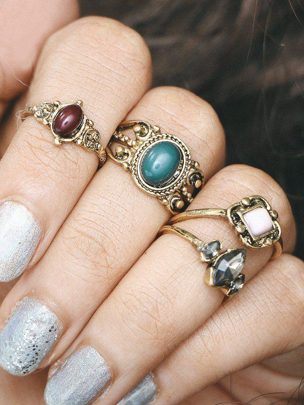 Image of Engraved Faux Gemstone Oval Finger Ring Set