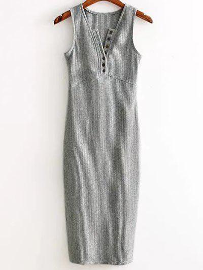 Side Slit Ribbed Dress 184048001