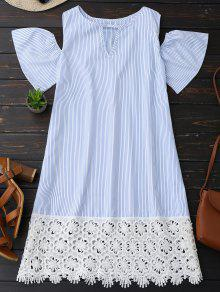 Cold Shoulder Lace Striped Dress - Stripe Xl