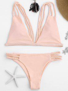 Low Cut Strappy Bralette Bikini - Pink L