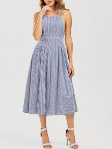 Striped Straps A Line Dress - Stripe S