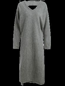maxi pullover kleid mit schlitz grau strickkleider m zaful. Black Bedroom Furniture Sets. Home Design Ideas
