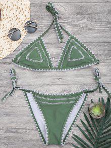 Halterneck Crochet String Bikini Set - Green S