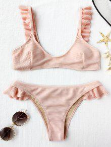 Conjunto De Bikini Con Volantes De Textura Acanalada - Rosado Claro M