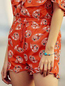 Full Floral Print Drawstring Shorts - Red 2xl