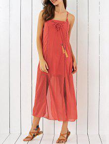 Double Slit Chiffon Midi Dress - Jacinth M