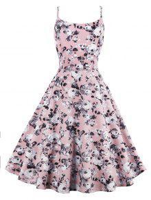 الورود المطبوعة عالية الخصر مضيئة فستان الشمس - زهري M