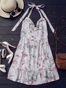 Mini Vestido Floral De Volantes Con Botones Hasta La Mitad - Floral S