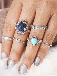 فو الفيروز البيضاوي خاتم البنصر - فضة