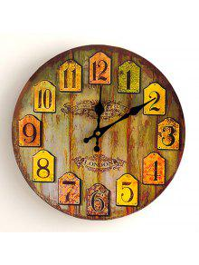 خمر التناظرية عدد الخشب جولة ساعة الحائط - الخشب اللون 30 * 30cm