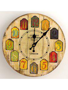 الكرتون التناظرية عدد الخشب جولة ساعة الحائط - الأصفر 30 * 30cm