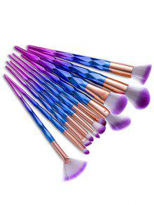 12Pcs Fancy Gradient Color Taper Ensemble De Brosses à Maquillage Angulaire - Bleu Violet