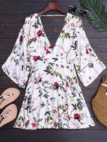 Kimono Sleeve Floral A-Line Dress - Floral M