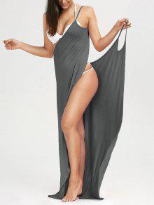 فستان مثير الشاطئ ماكسي لف - رمادي M