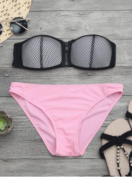 Zipper Mesh Bikini - ROSE PÂLE L